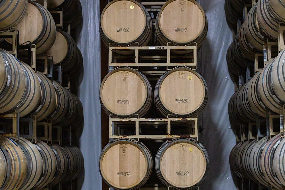 Barrel room at Gravity Wine House