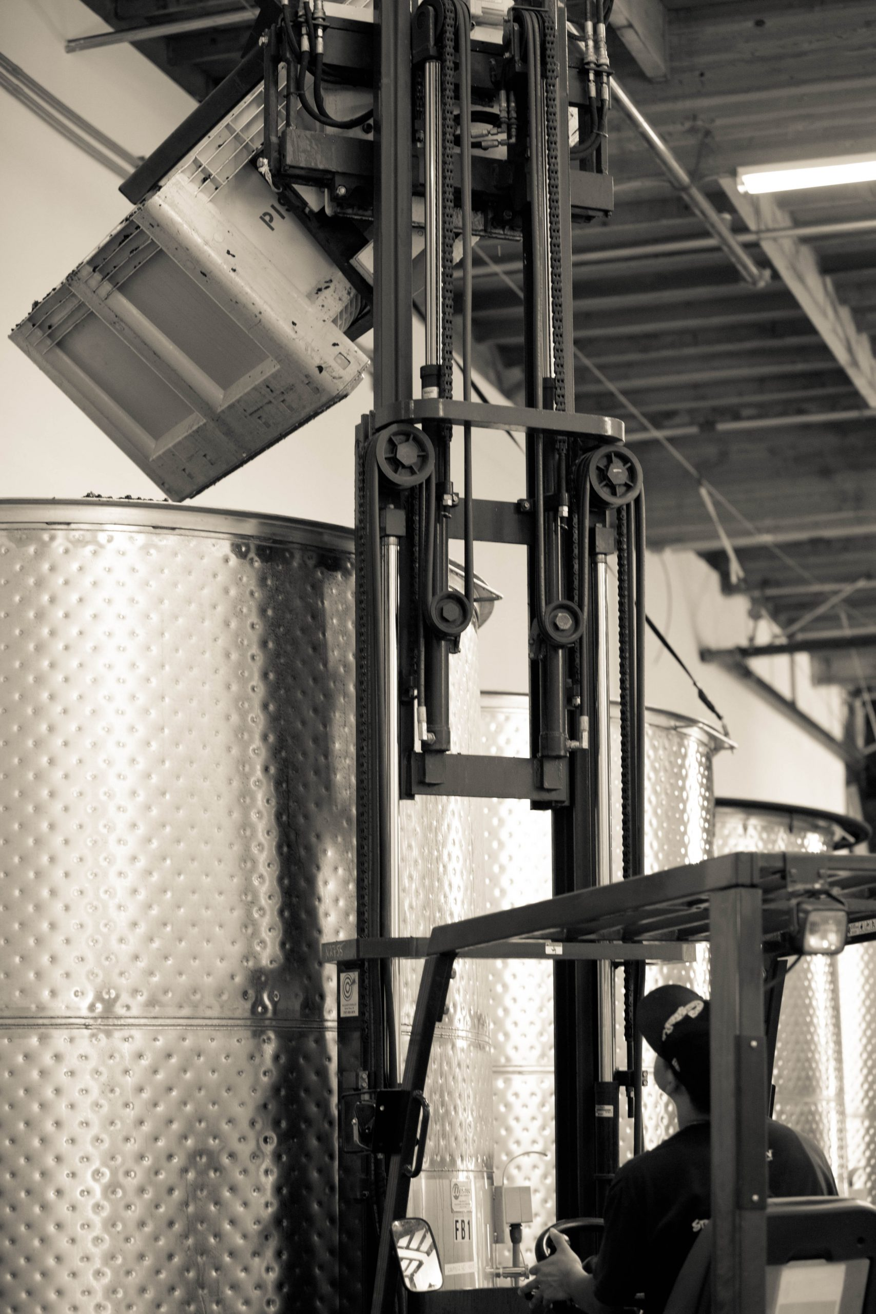 Forklift in winery