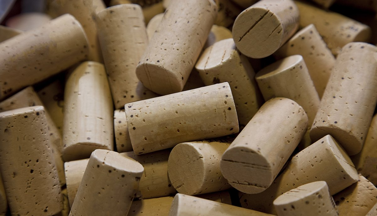 Corks in a pile during bottling