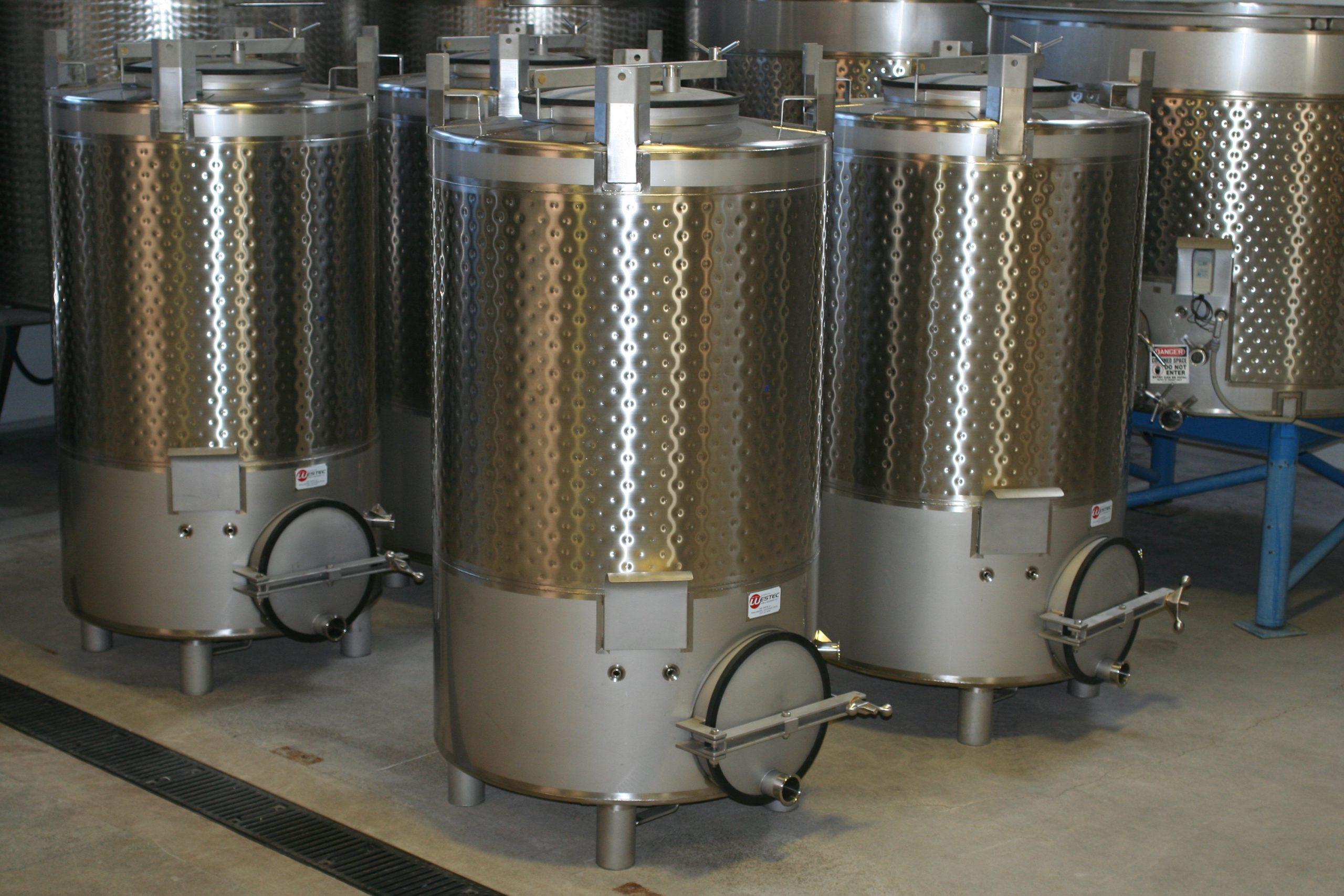 Various tank sizes in winemaking
